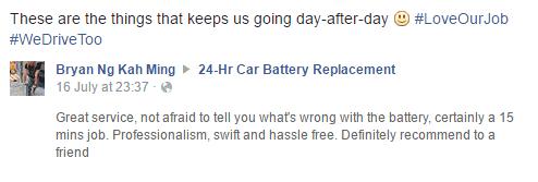 24 Hr Car Battery Replacement testimonial