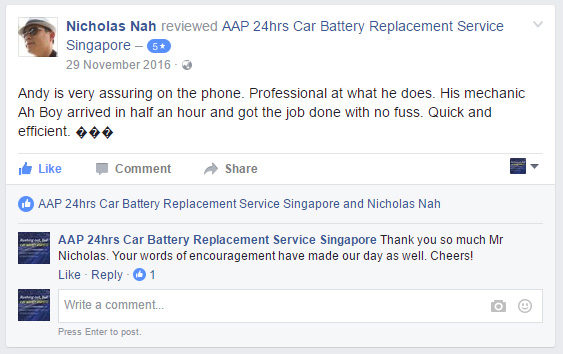 Customer Review for AAP Car Battery Service on Tuesday, 29 November 2016 at 09:39am