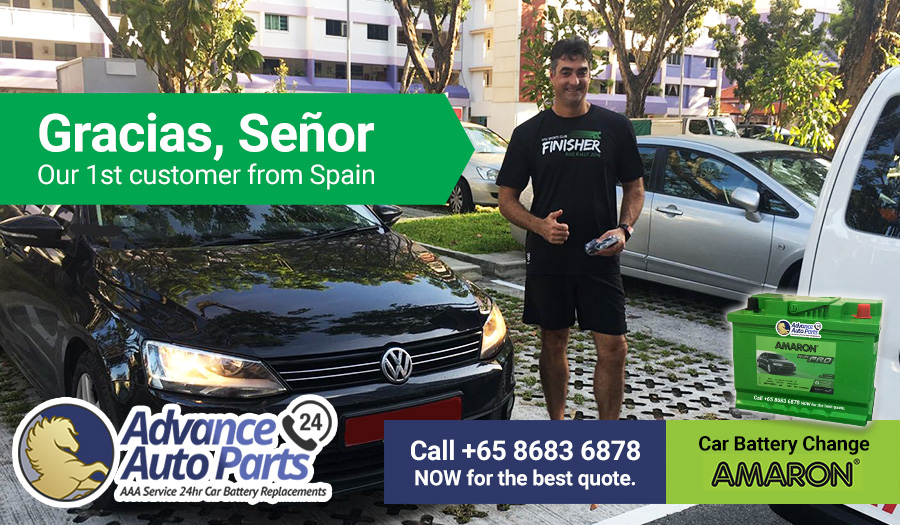 Gracias Señor! Car battery replacement service for our 1st customer from Spain on 2 December 2017 @ 12:00pm